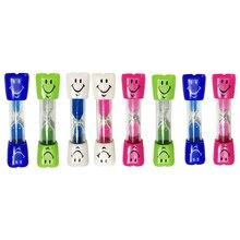 2 uds niños reloj de arena sonrisa reloj de arena de cepillado de dientes cepillo de dientes temporizador 3 minutos