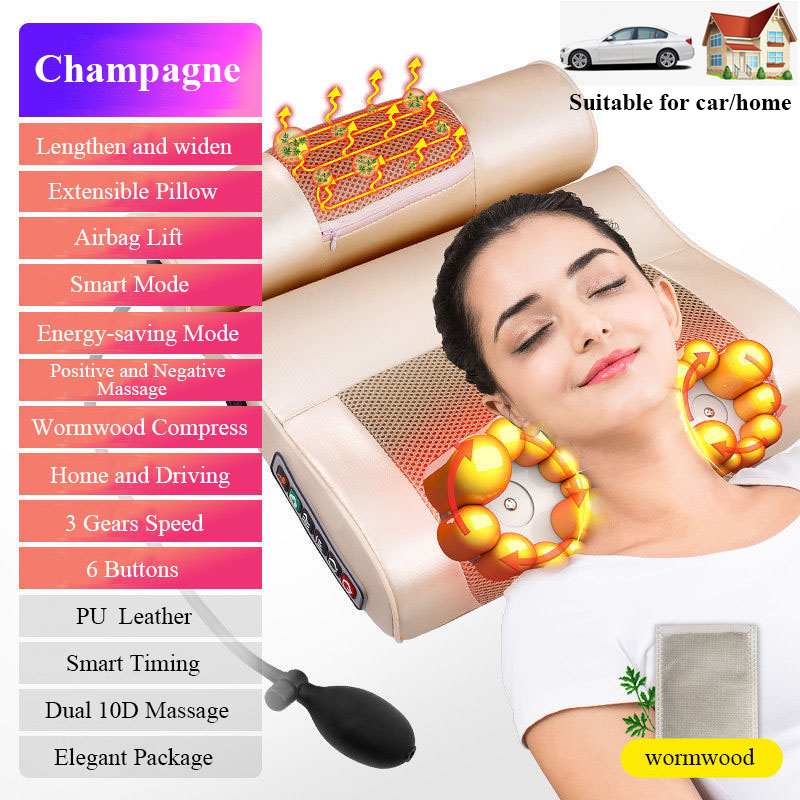 TheShy Health Care Massage Pillow Infrared Heating 3D Kneading Relax Head Neck Back Body Foot Massager Electric For Home or Car
