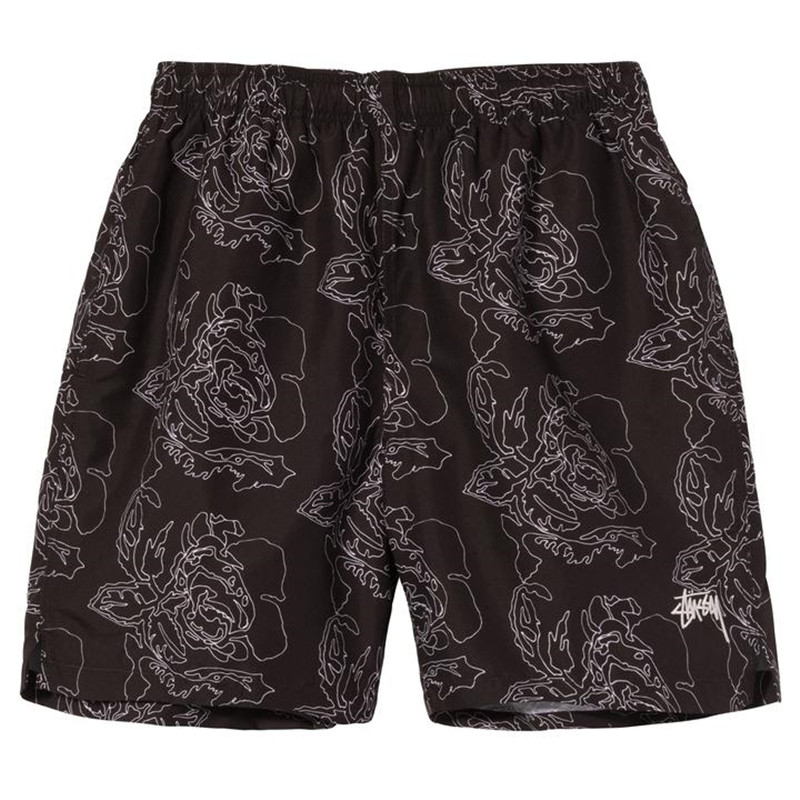 Summer New Rose Design Casual Shorts Street Hip Hop Fitness Polyester Fast Dry Breathable Embroidery Men's Shorts