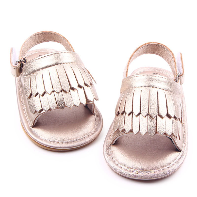 Baby Sandals Baby Sandals Frosted Tassel Newborn Baby Girl Sandals Summer Shoes Soft Sole Non-Slip Infant Toddler Sandals