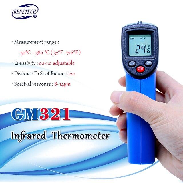 Digital Laser Non contact infrared thermometer GM321  50~380C ( 58~716F) 0.1 1.0 Adjustable IR Laser Point Gun Pyrometer