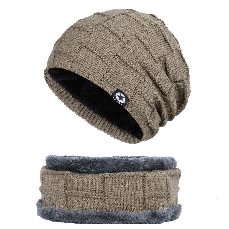 Зимняя мужская шапка с пятизвездочными звездами, шарф плюс бархатная мужская вязаная шапка, Теплая Лыжная маска, маска, головной платок, шапка, высококачественный хлопковый нагрудник, модная новинка - Цвет: Khaki-1