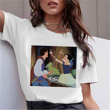 Luslos Women Snow White Princess Harajuku T Shirt Cotton O-Neck Fck You Punk T-Shirt Print Casual Sh