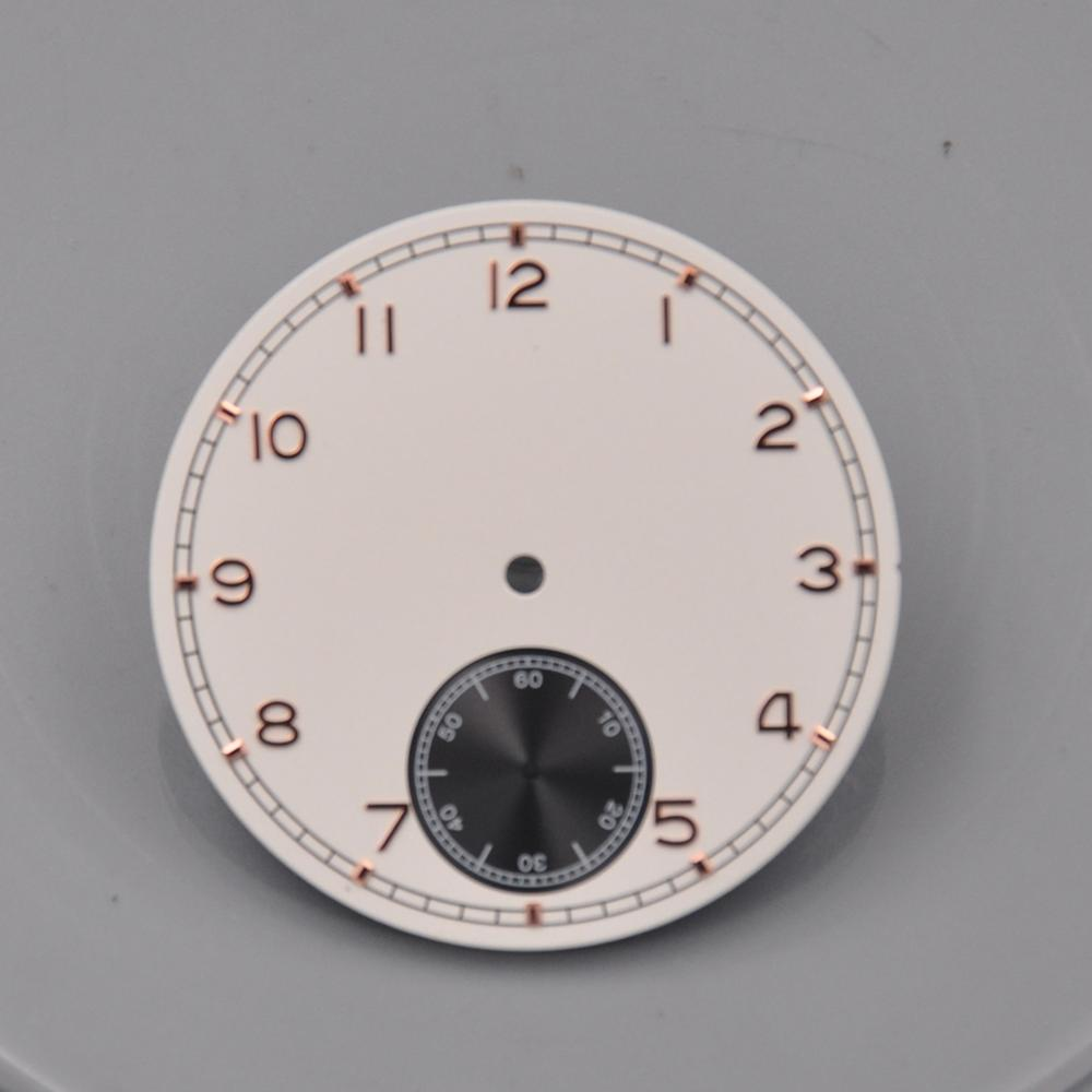 Corgeut mens Watch Parts, 38.9mm White/blue Sterile Dial Black Subdials Watch Dial fit 6498 <font><b>st3600</b></font> Hand Winding Movement image