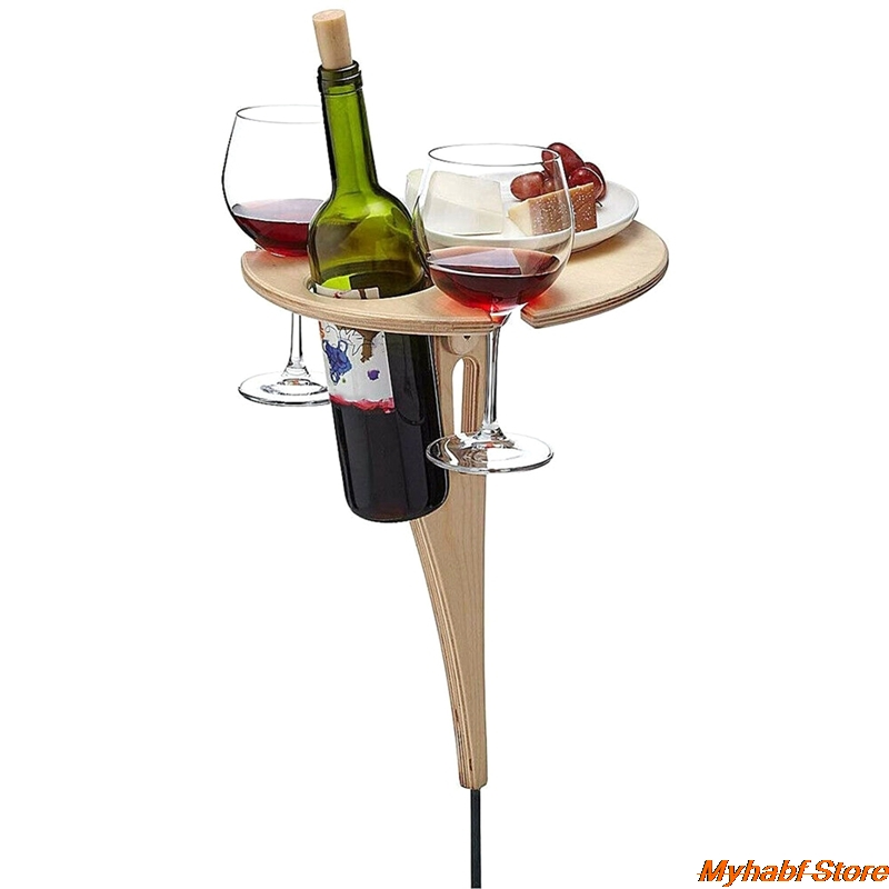 Outdoor Wine Table with Foldable Round Desktop Mini Wooden Picnic Table for Picnic Camping Wine Table Goblet Holder Wine Rack