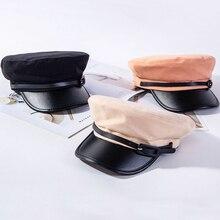 HT2584 Newsboy Caps for Women Leather Brim Army Military Cap Ladies Vintage Flat Top Captain Sailor Artist Hat Beret