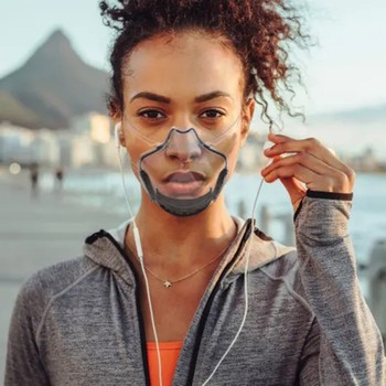 Διάφανη μάσκα προστασίας προσώπου με ενσωματωμένο φίλτρο ενεργού άνθρακα ιδανική για άτομα με γυαλιά