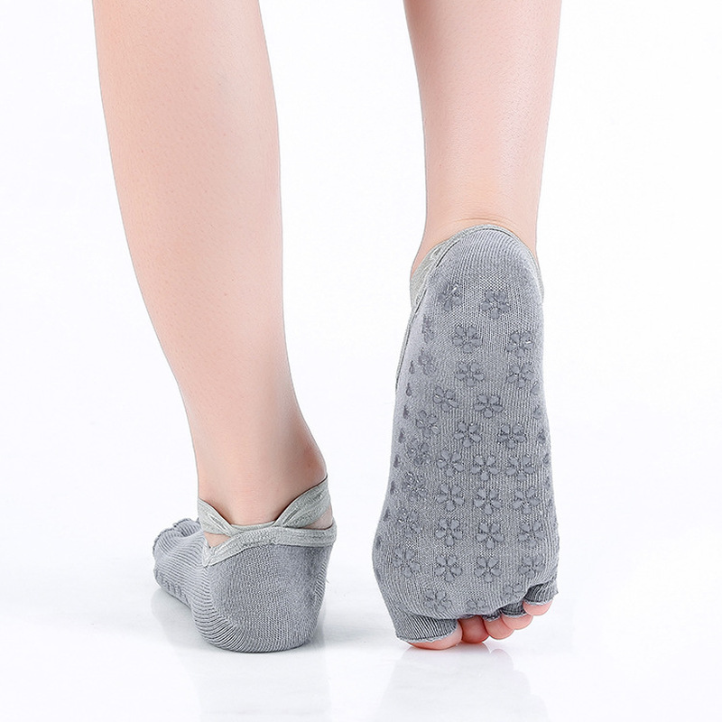 1pair Women Ballet Grip Yoga Socks Massage Ankle Pilates Anti-slip Gym Socks Pf