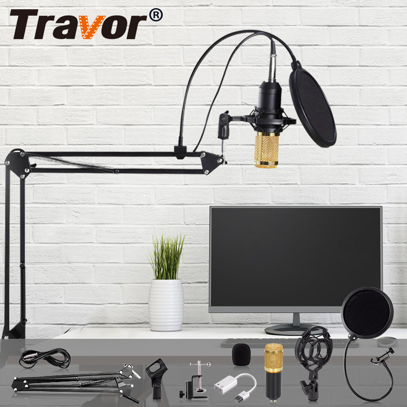 TRAVOR BM 800 Condenser Audio Microphone Studio Microphone Vocal Recording KTV Karaoke Microphone Mic With Stand For Computer