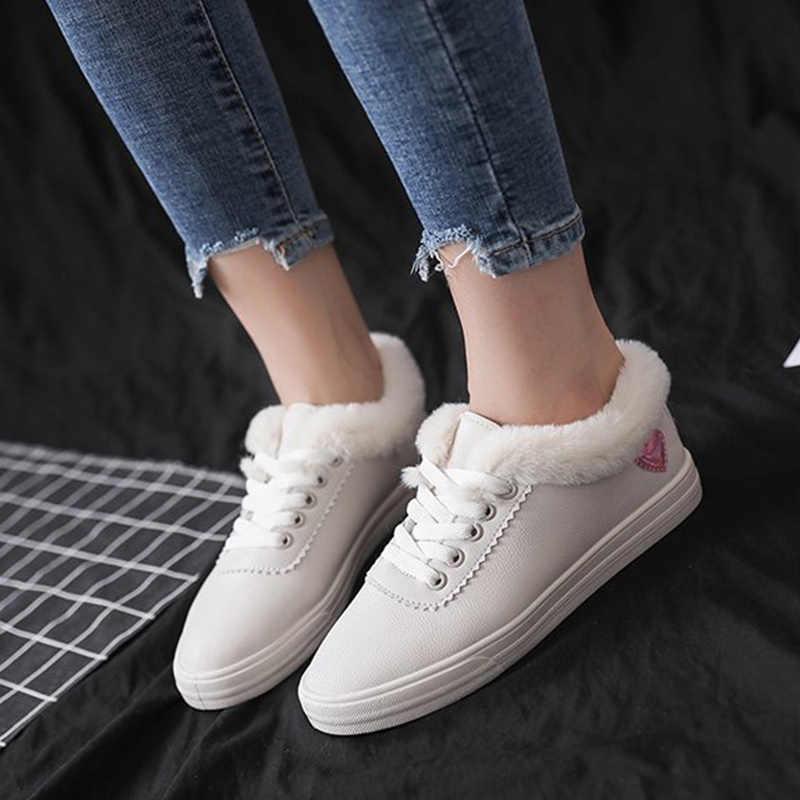 Kadın sıcak kürklü peluş daireler bayanlar Lace Up düz Platform kadın rahat rahat ayakkabılar kadınlar katı kadın yeni moda 2019