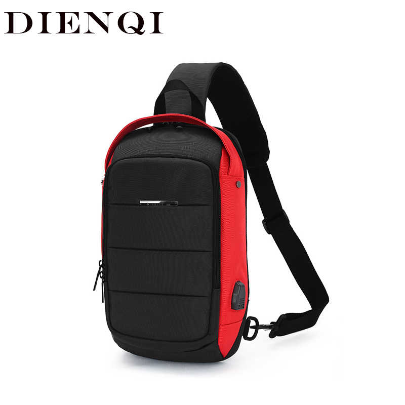 DIENQI Waterproof Men Handbag Multifunction Messenger Bag Travel Anti-theft Crossbody Bag For Documents Shoulder Bag Chest Pack