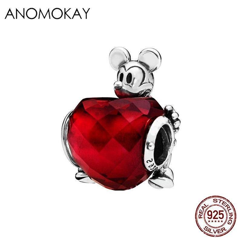 Ruby Rojo Amor Corazón Cristal Clip 925 Pulsera de plata encanto Colgante