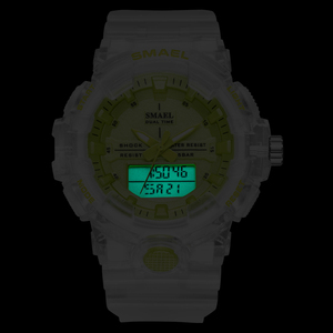 Image 4 - SMAEL reloj deportivo de cuarzo para mujer, resistente al agua hasta 50M, jalea de dama, 8025