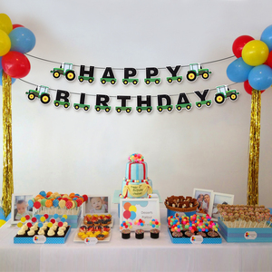 Image 2 - Tractor Birthday Banner Hanging Banners Ornaments Garland Bunting Pendant For Kids Birthday Party Favors Supplies Decorations