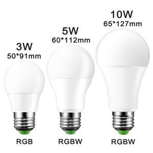 Image 2 - E27 3/5/10w 16 cores mudando magia lâmpada led rgb AC85 265V + branco controle remoto inteligente lâmpada de luz pode ser escurecido memória + ir controle remoto