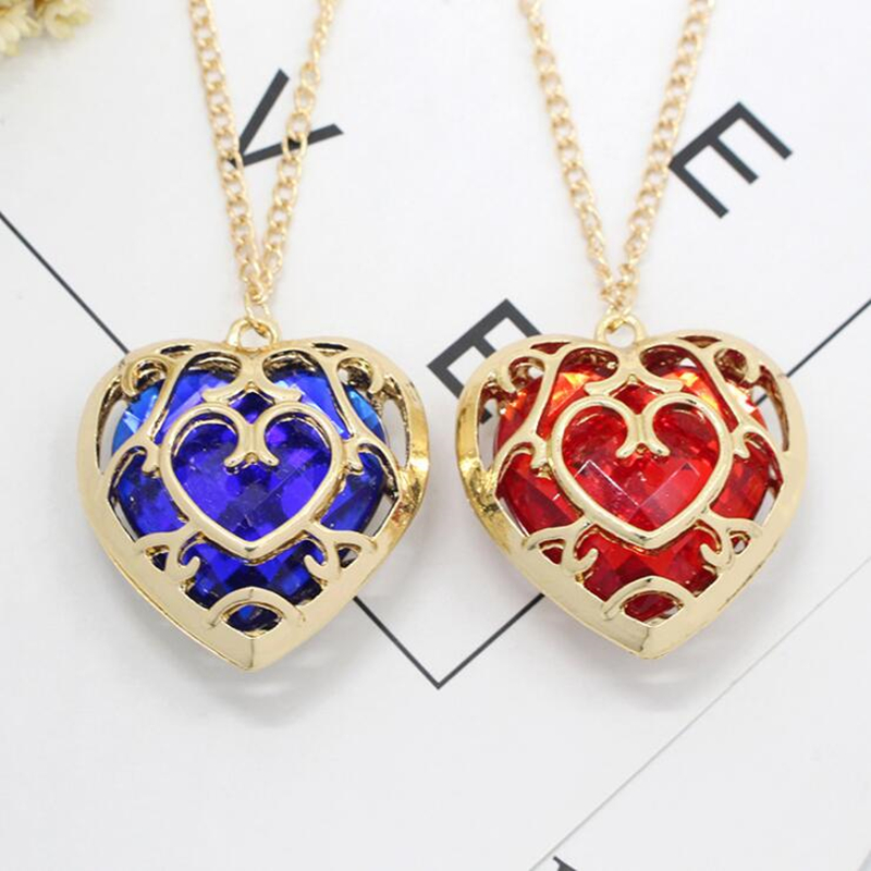 Game The Legend of Zelda Cosplay Red Blue Heart Necklace Pendant jewelry image