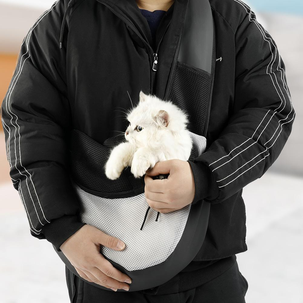 Pet Dog Carrier Outdoor Travel Handbag Pouch Mesh Waterproof Cloth Single Shoulder Bag Sling Mesh Travel Tote Shoulder Bag