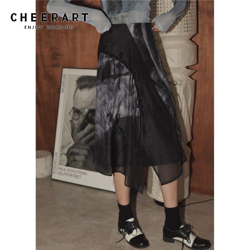 CHEERART Tulle Skirt Women Summer Asymmetrical Bandage Sheer Mesh Skirt Fashion Tule High Waist Midi Long Skirt Ladies 2020