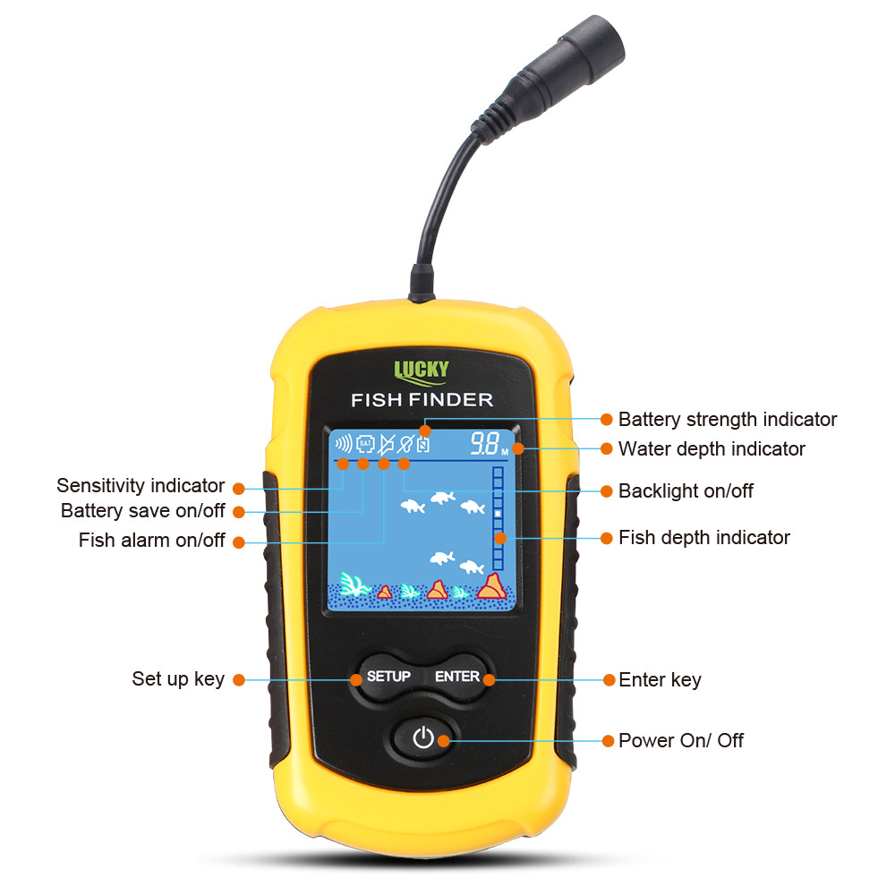 Russian warehouse! FFC1108-1 Alarm 100M Portable Sonar Fish Finders Fishing lure Echo Sounder Fishing Finder Lake Sea Fishing 5