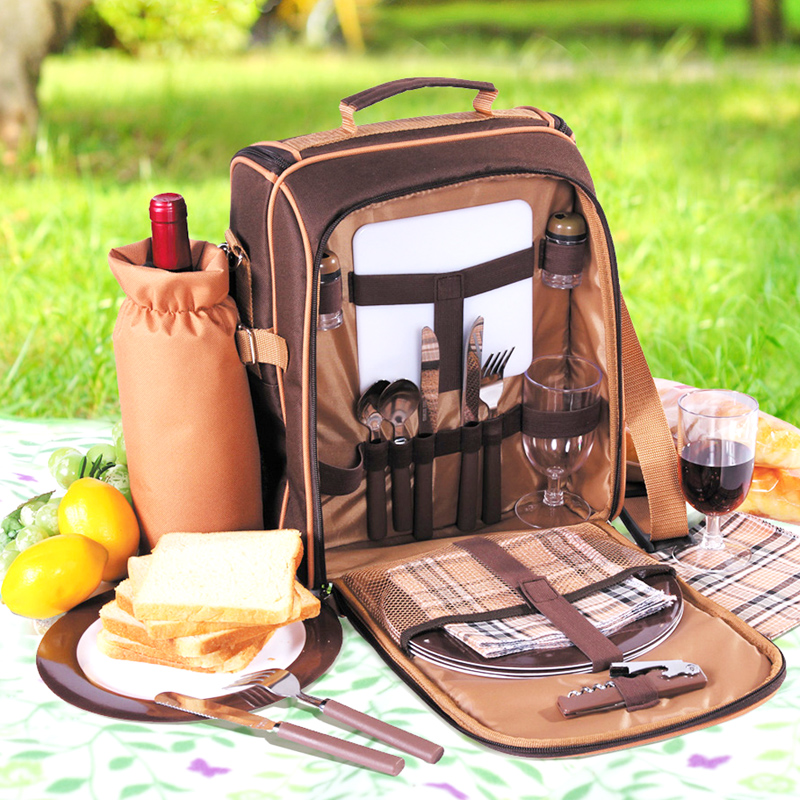 Portable camping picnic bag with cutlery refrigerator bag cubiertos picnic set for 2 travel backpack cooler ice bags outdoor