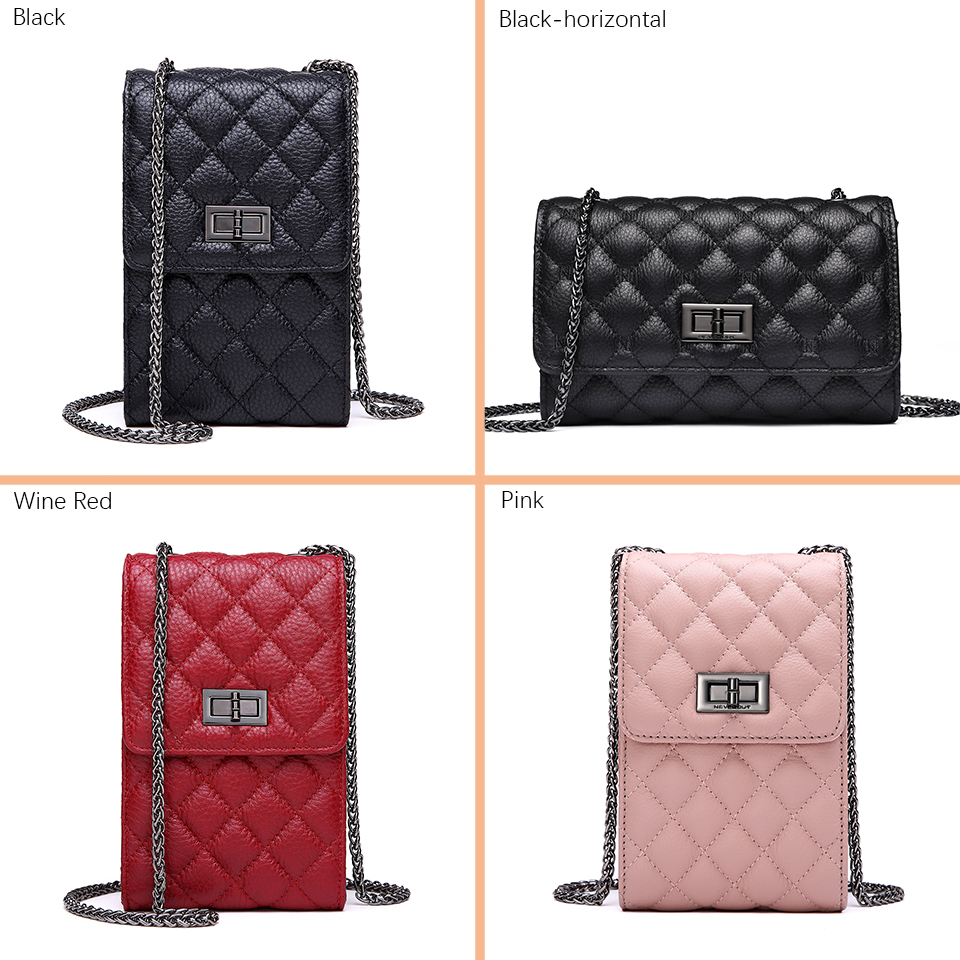 Image 3 - NEVEROUT Genuine Leather Shoulder Bag for Women Cell Phone Purse Crossbody Ladies Small Quilted Bag Sac a Main Messenger Bags-in Top-Handle Bags from Luggage & Bags