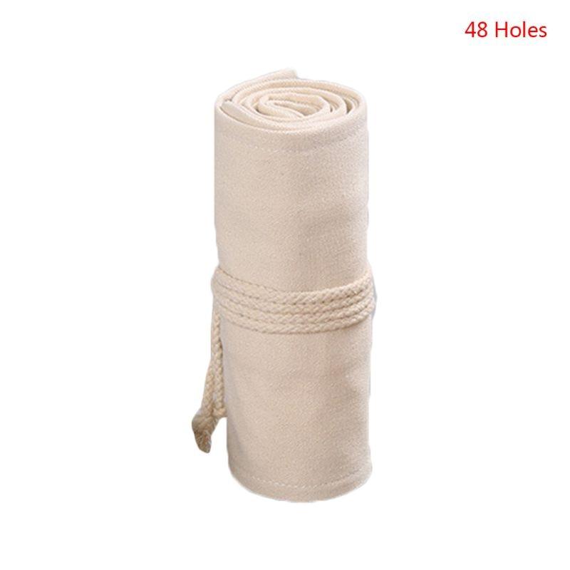 12/24/36/48/72 Holes Canvas Roll Up Pen Curtain Pencil Bag Case Makeup Wrap Holder Storage Pouch C5AE