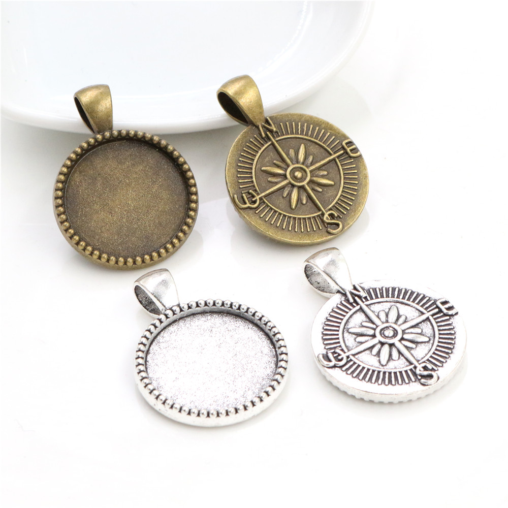 10pcs 20mm Inner Size Antique Silver Plated And Bronze Compass Style Cabochon Base Setting Charms Pendant