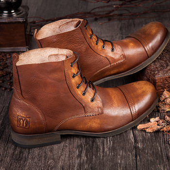 Męskie buty New Arrival moda Vintage buty z prawdziwej skóry buty męskie buty w stylu Casual jesień projekt buty skórzane do kostki dla mężczyzn tanie i dobre opinie QYFCIOUFU Podstawowe CN (pochodzenie) Skóra bydlęca ANKLE Ręcznie malowane Świńskiej Świnia Podzielone Okrągły nosek