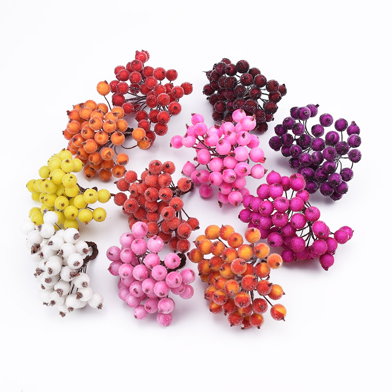 20 Pieces Glass Bead Fake Flowers For Scrapbooking Artificial Fruits Needlework Diy Gifts Candy Box Christmas Decorative Wreaths