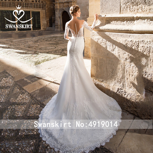 Image 2 - Sweetheart Mermaid Wedding Dress Vintage Long Sleeve Illusion  Court Train Swanskirt GI27 Bridal Gown Princess Vestido de novia
