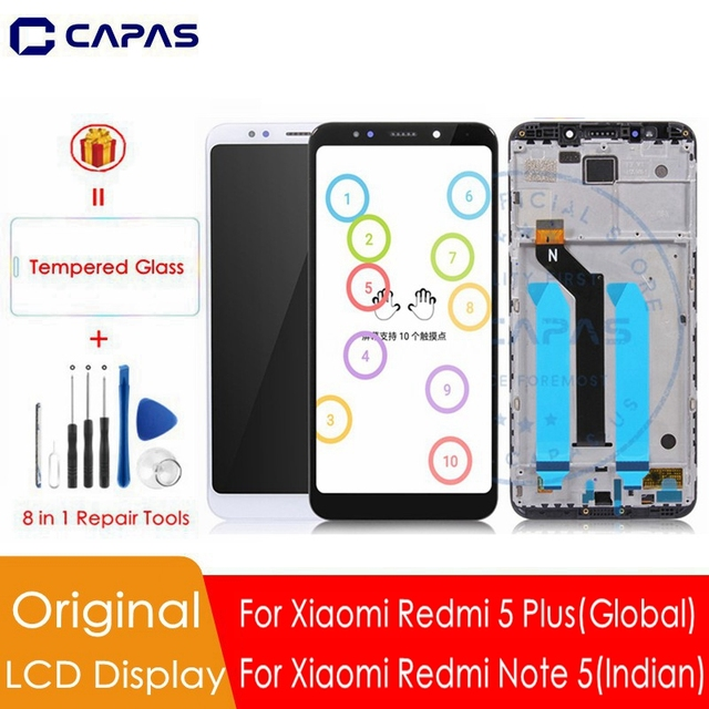 Original For Xiaomi Redmi 5 Plus LCD Display + Frame 10 Touch Screen For Redmi Note 5 Indian LCD Digitizer Replacement Parts