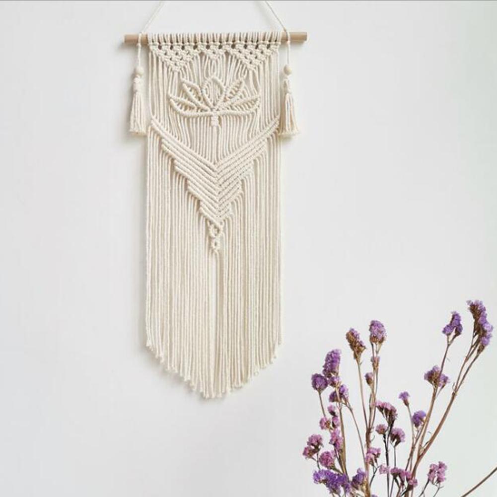 Nordic makrama tkane gobeliny Boho szykowne, Boho ściany wiszące dekoracje do domu rzemiosło liny bawełniane tkane kryty pokój artystyczny Decortion
