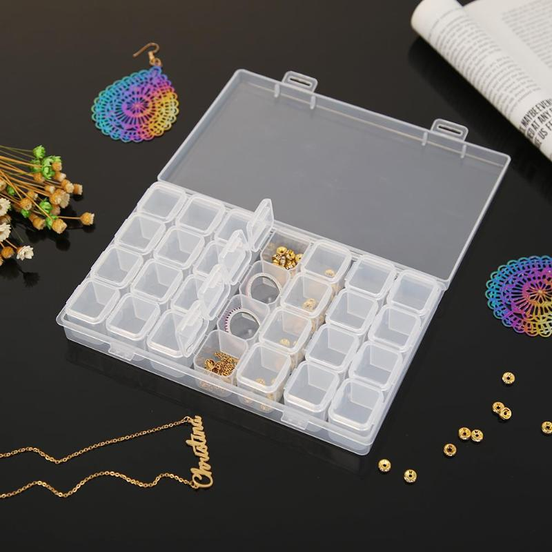 28 Lattices Transparent Storage Box Plastic Diamond Painting Beads Jewelry Case Container Lightweight Storage Accessories