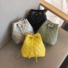 Rhombus Bucket Bag Women's 2020 New Style Fashion Korean-style Versatile Handbag Shoulder CHIC Chain