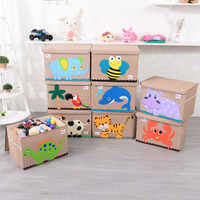 2019 große Cube falten lagerung box Spielzeug Cartoon tier Leinwand kleidung Lagerung Bin mit Deckel für Bücher Gefüllte