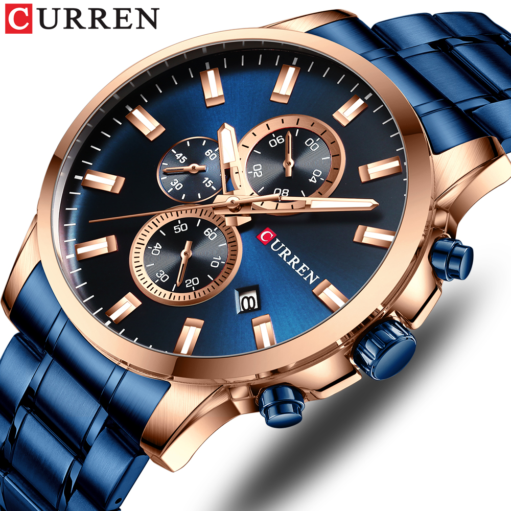 CURREN New Watch Men Fashion Sport Watch Stainless Steel Band Quartz Wristwatch Military Chronograph Clock Male Waterproof 8348