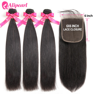 AliPearl Human Hair Bundles With 6x6 Lace Closure Brazilian Straight Hair 3 Bundles With Closure Remy Ali Pearl Hair Extension(China)