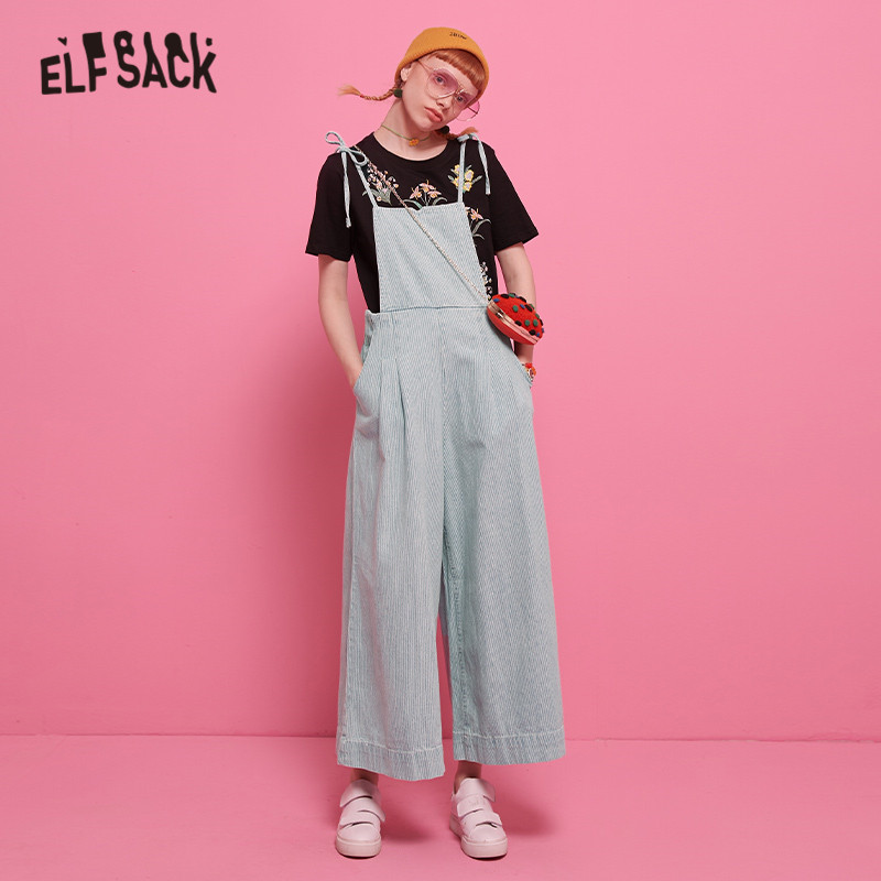 ELFSACK Blue Solid Straight Leg Fashion Women Jeans 2020 Autumn Overall Casual Skinny Female Denim Pants