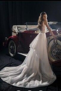 Image 2 - فستان زفاف من Sunny 2020 ذو رقبة على شكل V بسيط بدون ظهر على الشاطئ فستان زفاف Vestido De Noiva Praia HA132