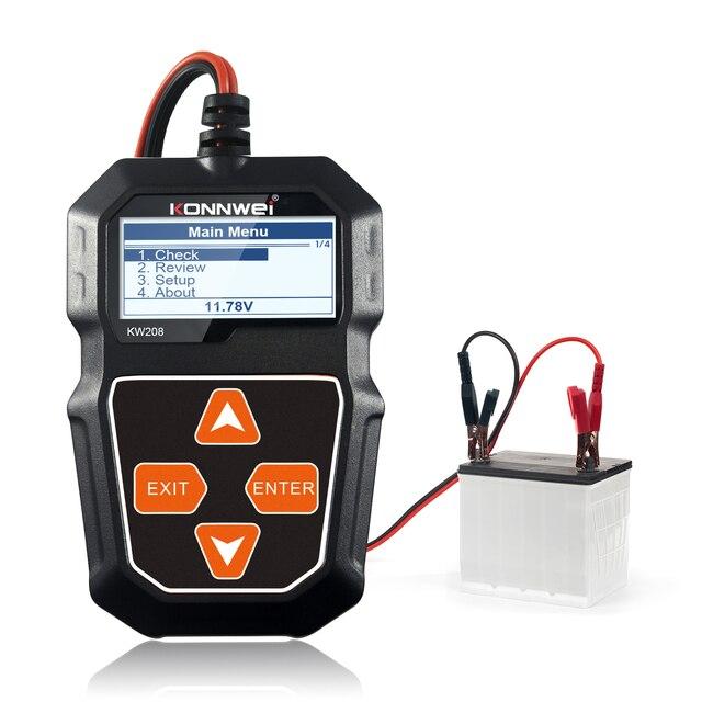 KONNWEI KW208 جهاز اختبار بطارية السيارة الرقمية 12 فولت 100 2000CCA التحريك نظام شحن اختبار أداة بطارية سيارة اختبار قدرة