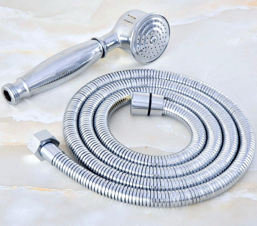1.5m Polished Chrome Brass Flexible Bathroom Hand Held Shower Hose and Telephone Style Hand Held Shower Head mhh023