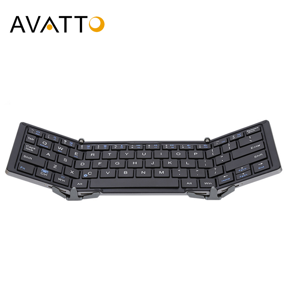 AVATTO Aluminum Case Portable Folding Bluetooth Keyboard, Foldable wireless mini Tablet Keyboard For IOS/Android/Windows phone image