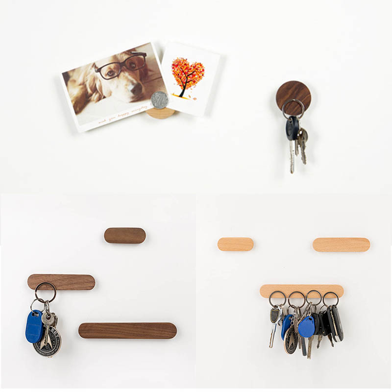 Portable Key Holder Key Storage Organizer Wooden Hooks Key Rack Strong Magnetic Wall Mounted 1Pcs Key Ring Hanger