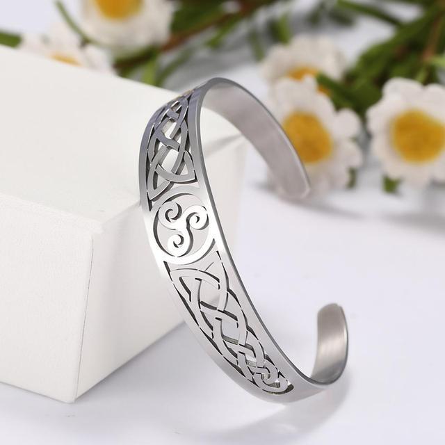 Bracelets manchette Viking Lemegeton noeud irlandais Bracelet noeud celtique hommes femmes amulette bijoux Talisman Bracelet acier inoxydable (Copie) 1