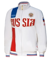 Mens Sport Russian National Team Forward Russia Jacket Male Full Pockets Coat Men Sports Cycling Coats White High Quality