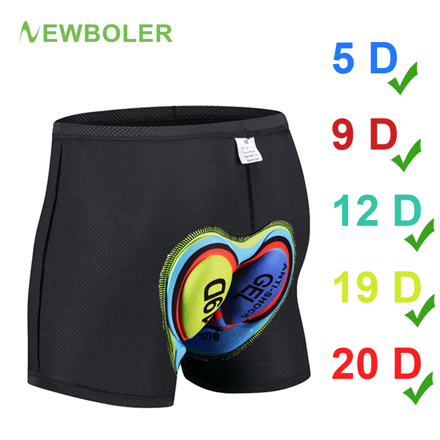 NEWBOLER GEL Cycling Shorts 5D 20D Men's Underpants Mountain Bike Shorts Bicycle Padded Underwear For Bicycle Downhill Vtt Short