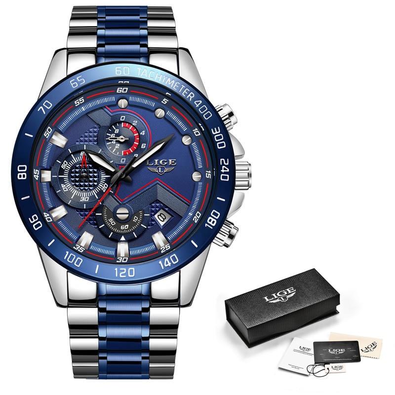 Relogio Masculino LIGE Hot Fashion Mens Watches Top Brand Luxury Wrist Watch Quartz Clock Blue Watch Men Waterproof Chronograph
