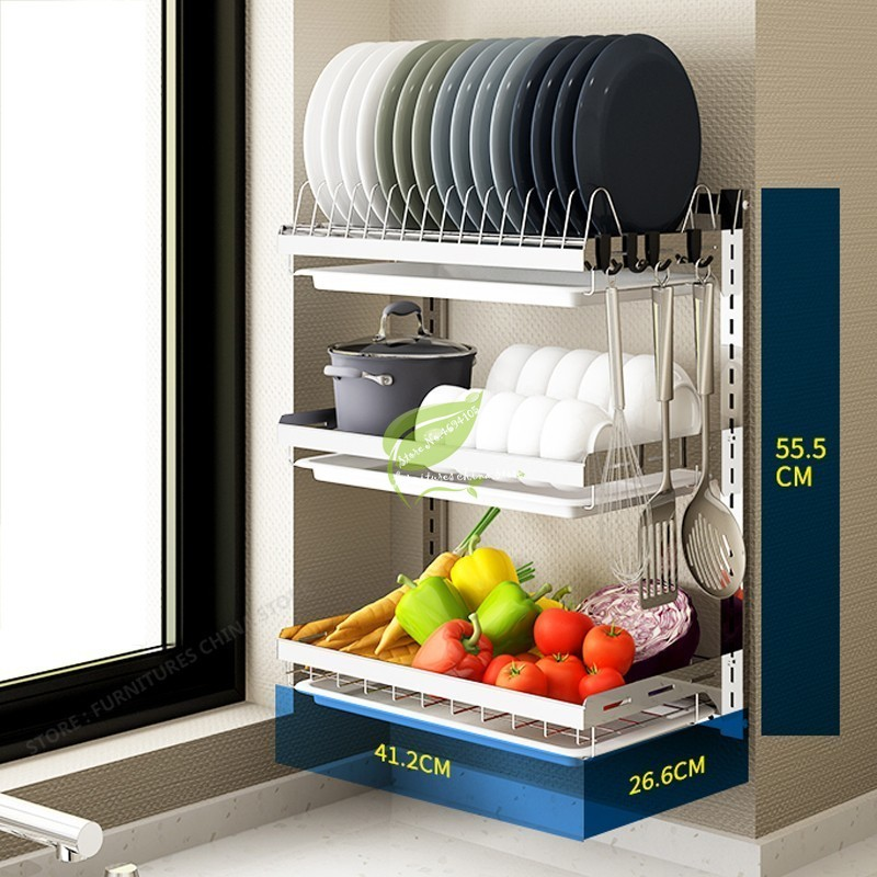 New Multifunction Drying Rack Kitchen Cup Holder Storage Shelf Rack Kitchen Support Wall Hooks For Pots And Pan Dish Dryer