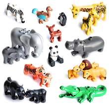 Tamanho grande diy blocos de construção acessórios animais figuras leão panda compatível com duplo brinquedos para crianças presentes