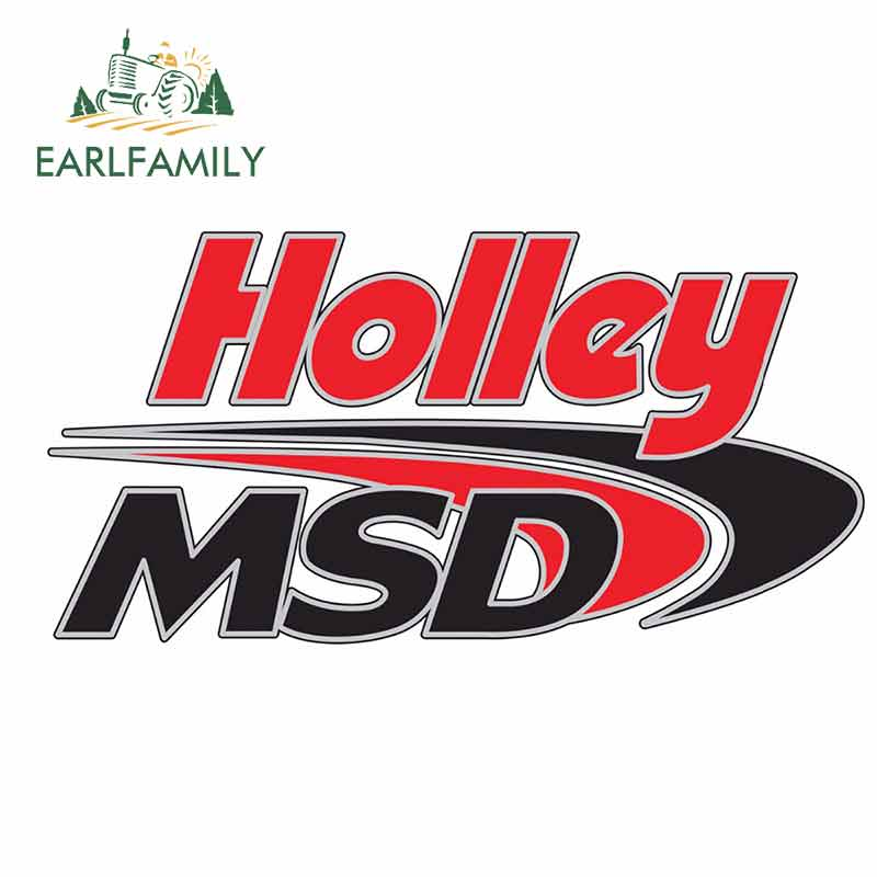 EARLFAMILY 13cm X 6.8cm For Holley Logo Flag Occlusion Scratch Car Stickers Car Accessories Decal Waterproof Creative Decor